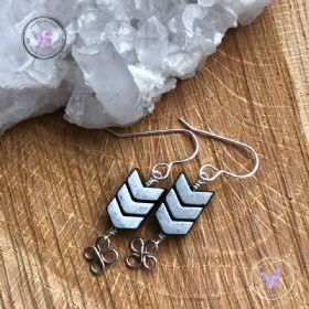Hematite Arrow Earrings With Lucky Silver Clover